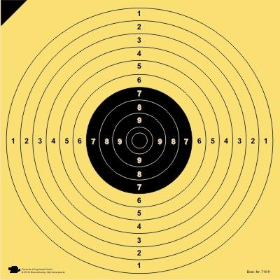 BDS Scheibe Nr. 5. Pistole 25/50 m. ISSF. KK 100 m. DSU UIT Präzision. Probe