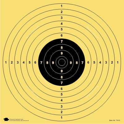 BDS Scheibe Nr. 5. Pistole 25/50 m. ISSF. KK 100 m. DSU UIT Präzision.fortl. nummeriert